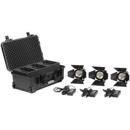 Picture of Kinotehnik Practilite 602 LED Bi-Color Fresnel 3-Light Kit With Case