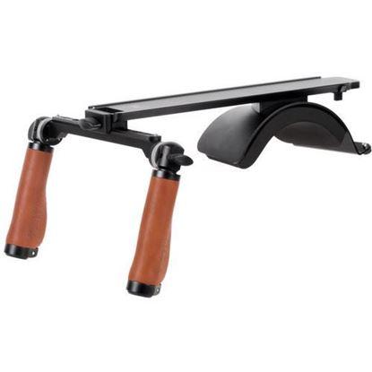 Picture of Wooden Camera Base Shoulder Rig v3 (Leather Handles)